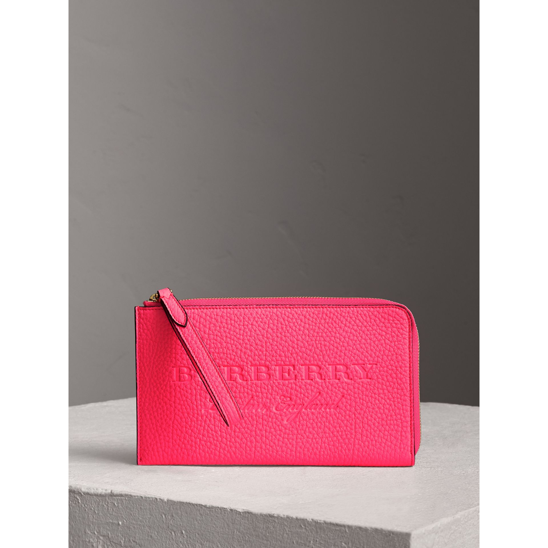 Embossed Neon Leather Travel Wallet in Bright Pink | Burberry - gallery image 0
