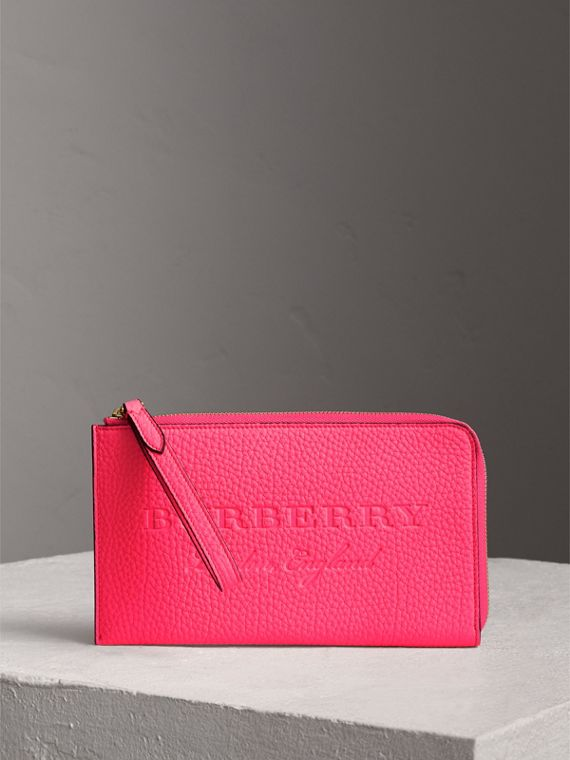 Embossed Neon Leather Travel Wallet in Bright Pink