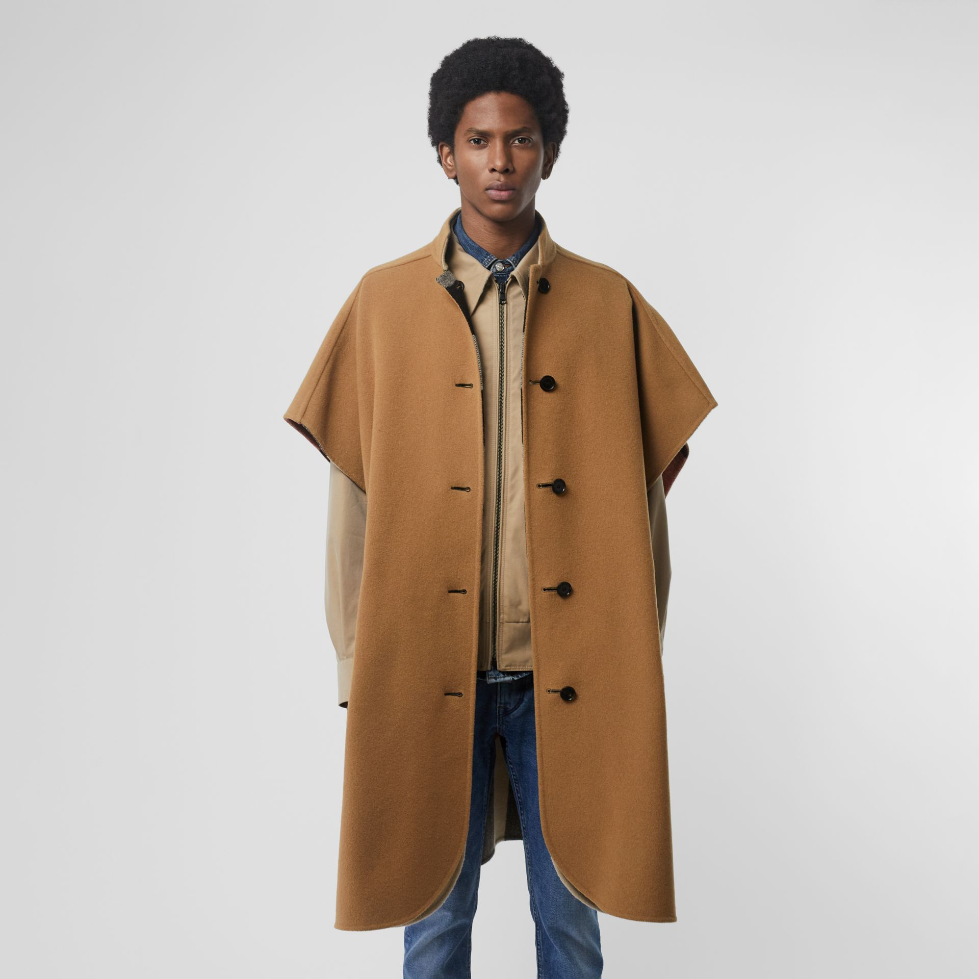 Reversible Check Wool Blend Poncho in Camel | Burberry Australia - gallery image 7