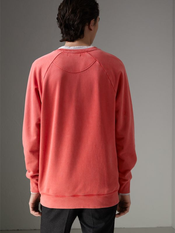 Portrait Print Cotton Sweatshirt in Bright Military Red - Men | Burberry Canada - cell image 2
