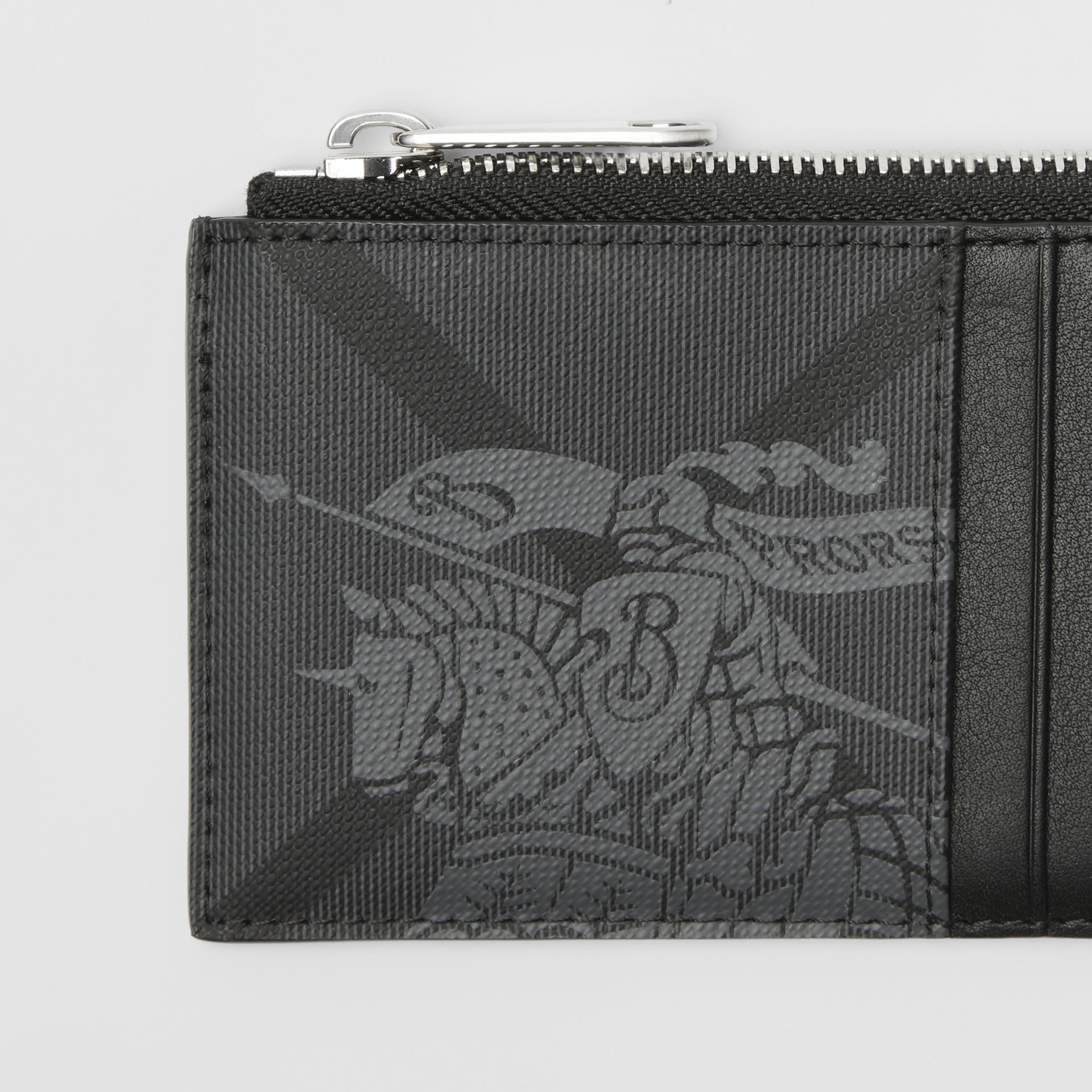 Equestrian Knight Print and Leather Zip Card Case in Charcoal/black - Men | Burberry Australia - gallery image 1