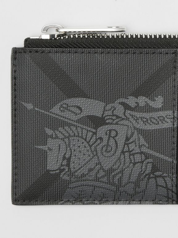 Equestrian Knight Print and Leather Zip Card Case in Charcoal/black - Men | Burberry - cell image 1