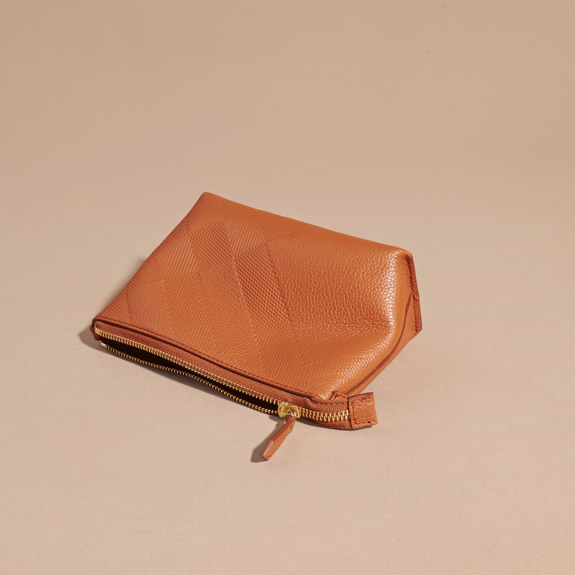 Orange umber Embossed Check Leather Beauty Pouch Orange Umber - gallery image 4