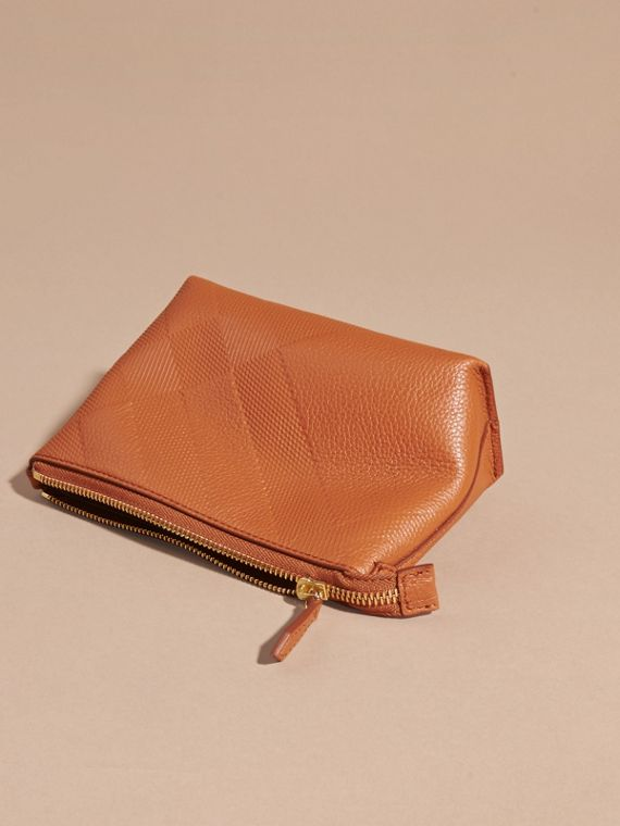Orange umber Embossed Check Leather Beauty Pouch Orange Umber - cell image 3