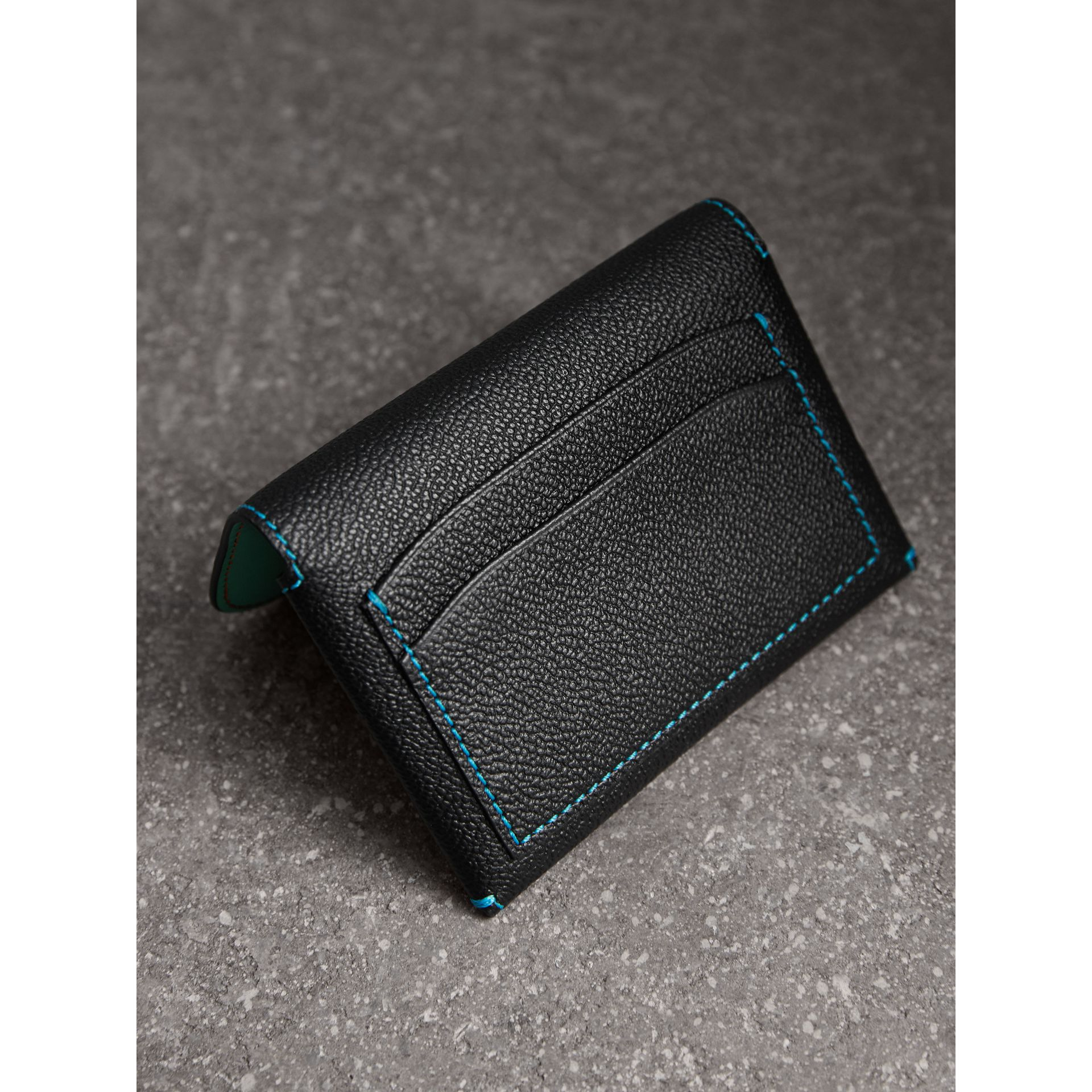 Leather Coin Case with Removable Card Compartment in Black/multicolour | Burberry - gallery image 2