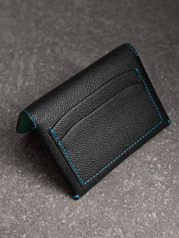 Leather Coin Case with Removable Card Compartment in Black/multicolour - Women | Burberry - cell image 2