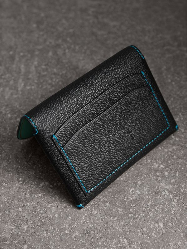 Leather Coin Case with Removable Card Compartment in Black/multicolour | Burberry - cell image 2