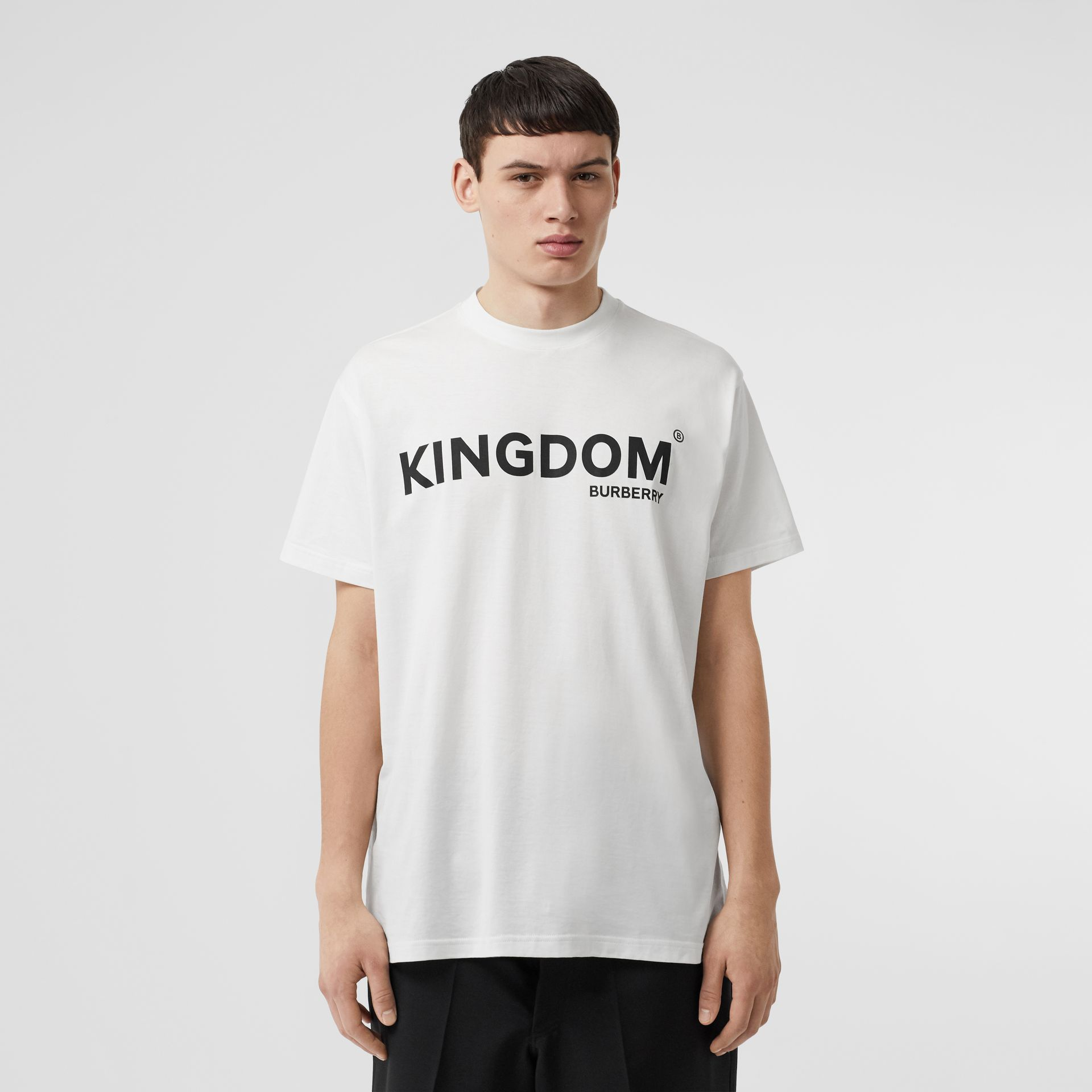 Kingdom Print Cotton T-shirt in White - Men | Burberry - gallery image 0