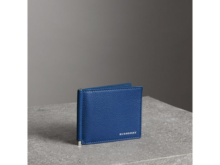Grainy Leather Money Clip Card Wallet in Bright Ultramarine - Men | Burberry - cell image 4