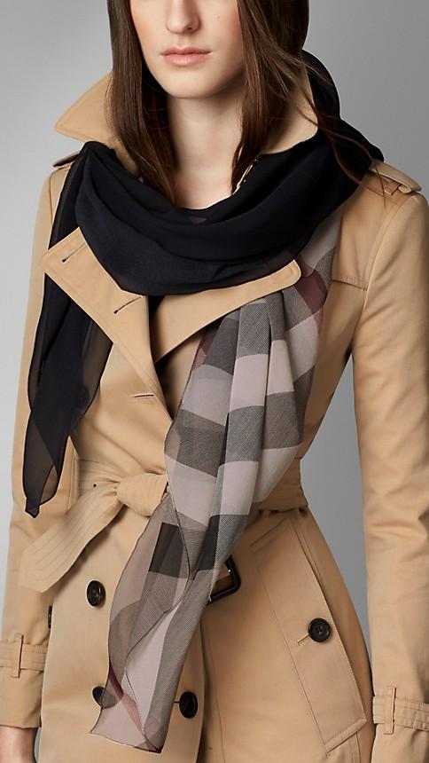 Black check Check Ombre Silk Scarf - Image 2