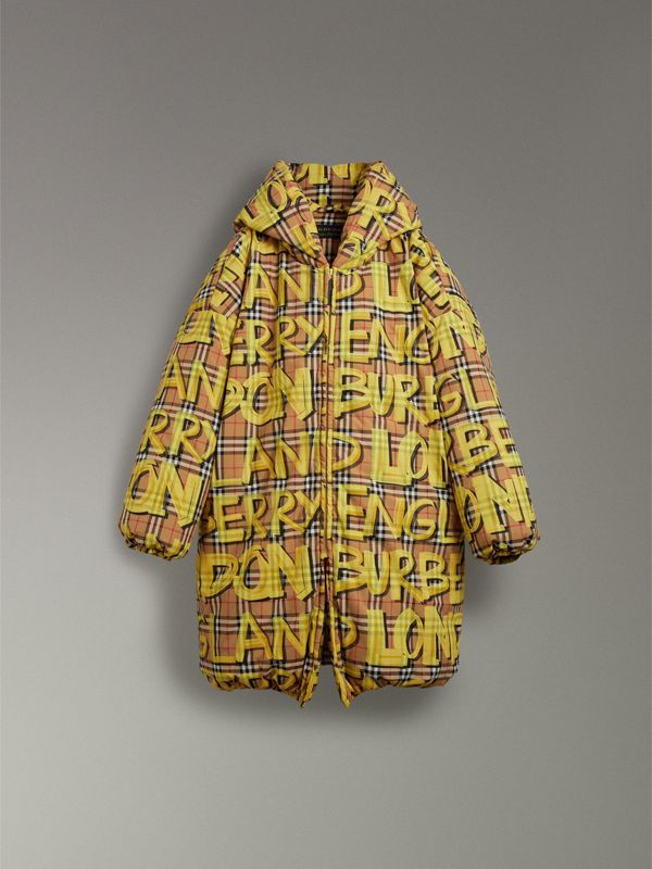 Graffiti Vintage Check Down-filled Puffer Coat in Bright Yellow | Burberry - cell image 3