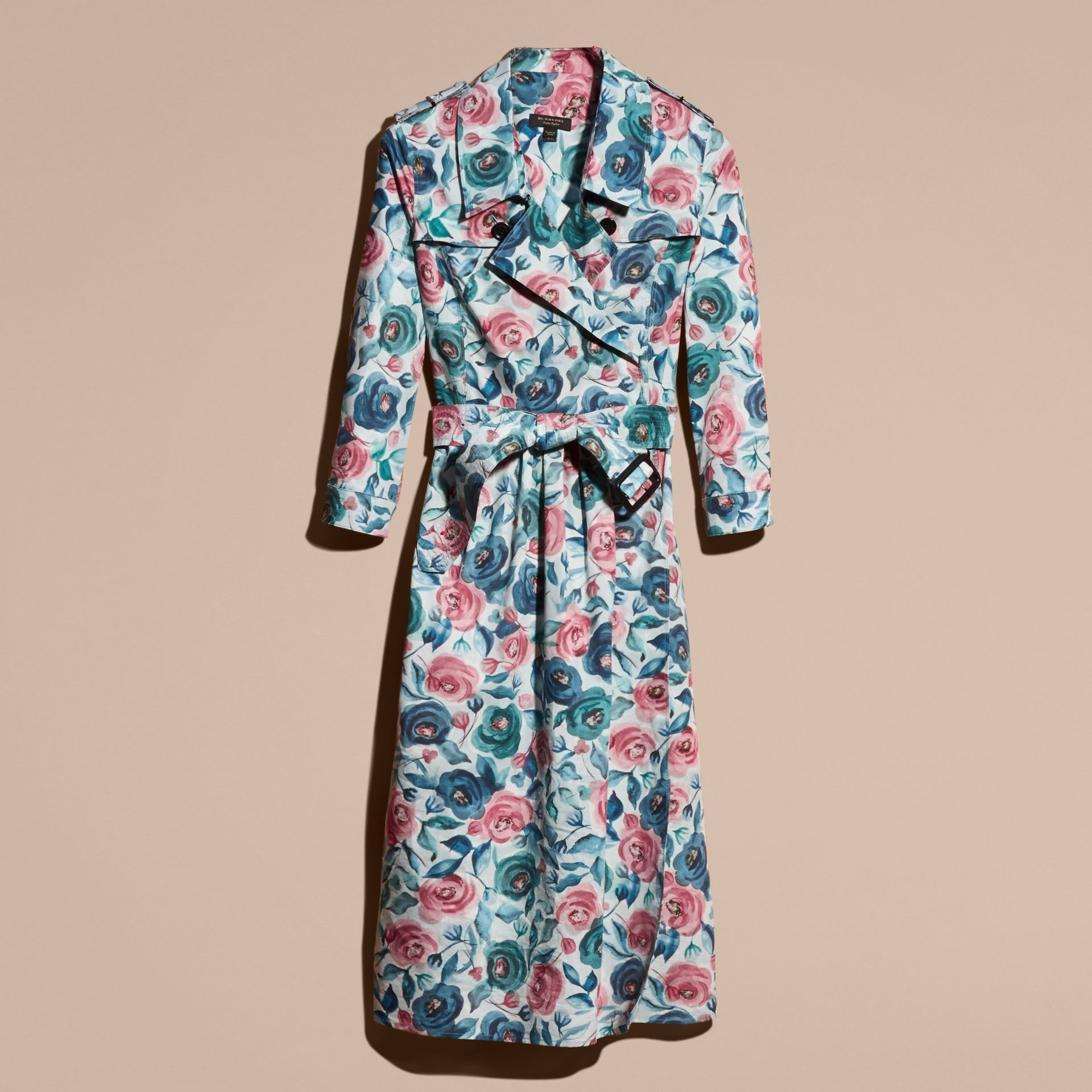 Teal blue Watercolour Rose Print Cotton Silk Trench Dress - gallery image 4