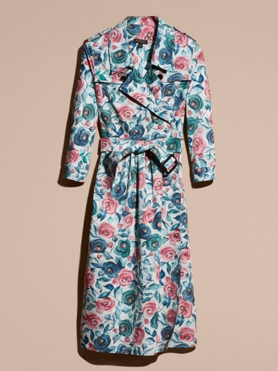 Watercolour Rose Print Cotton Silk Trench Dress - cell image 3