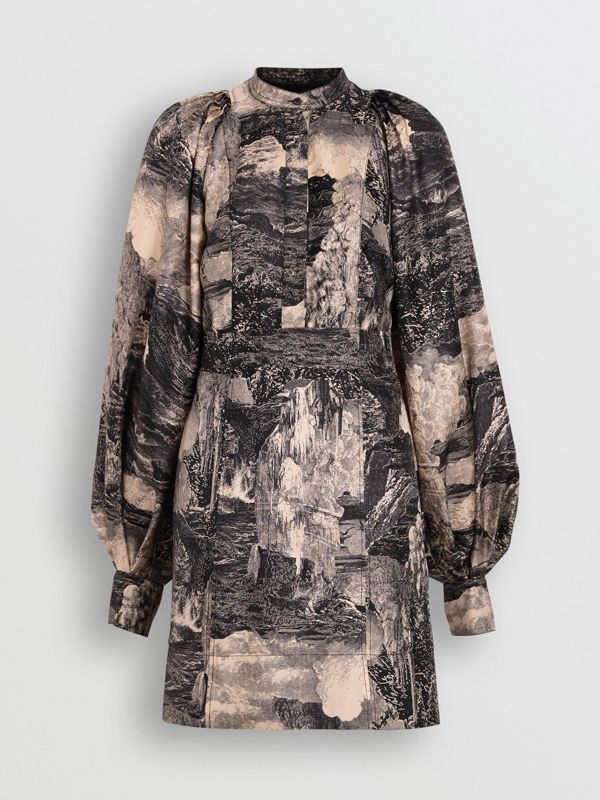 Dreamscape Print Silk Shirt Dress in Pale Apricot - Women | Burberry - cell image 3