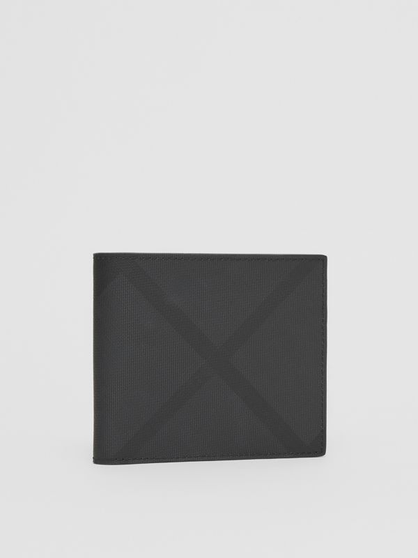 London Check International Bifold Coin Wallet in Dark Charcoal - Men | Burberry Canada - cell image 3