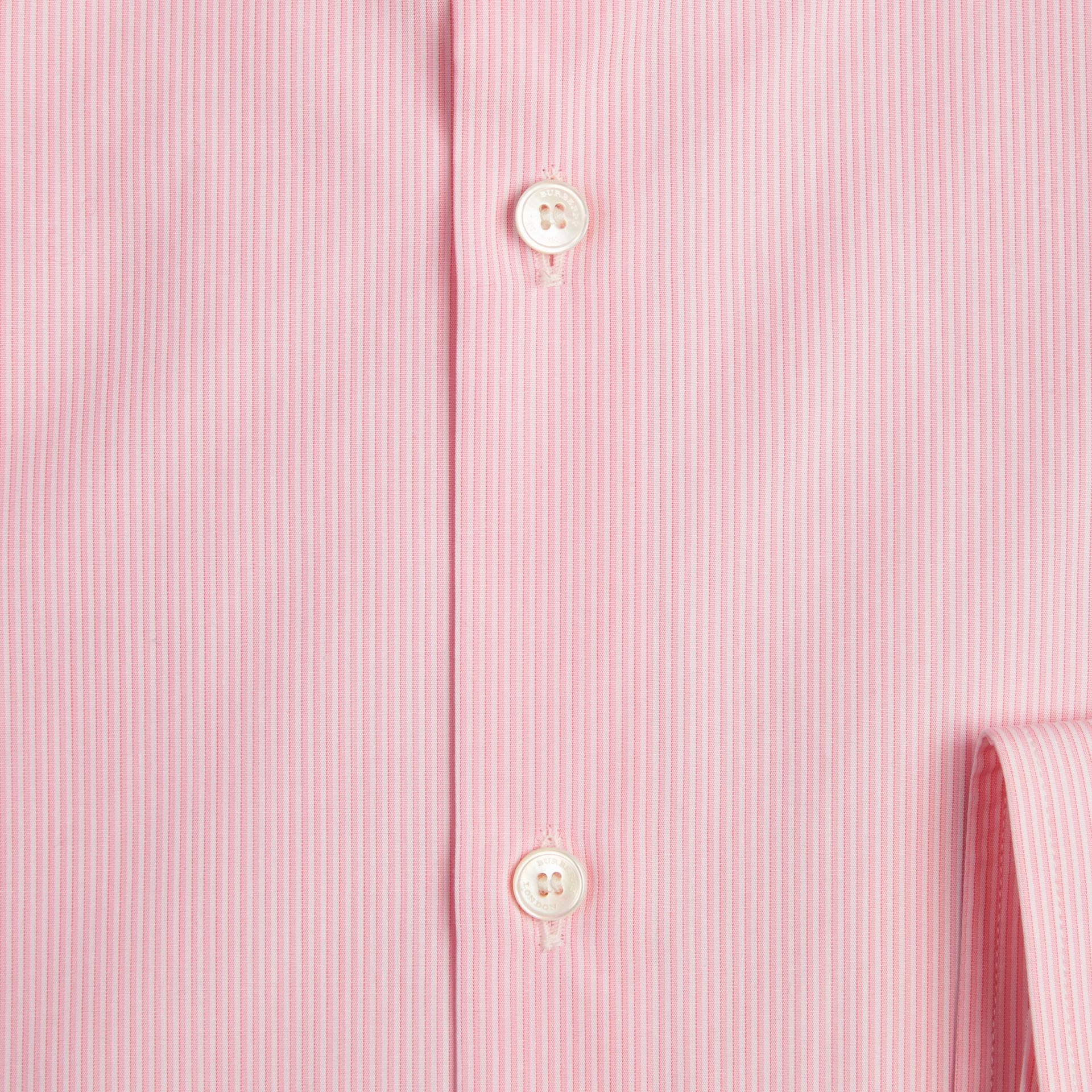Modern Fit Striped Cotton Poplin Shirt in City Pink - Men | Burberry - gallery image 2