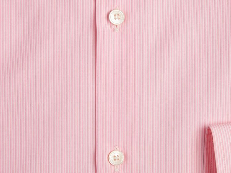 Modern Fit Striped Cotton Poplin Shirt in City Pink - cell image 1