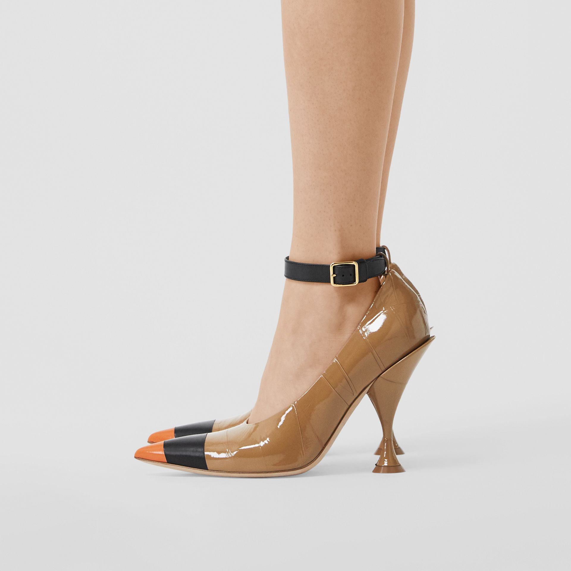 Tape Detail Leather Point-toe Pumps in Brown / Black - Women | Burberry - gallery image 2