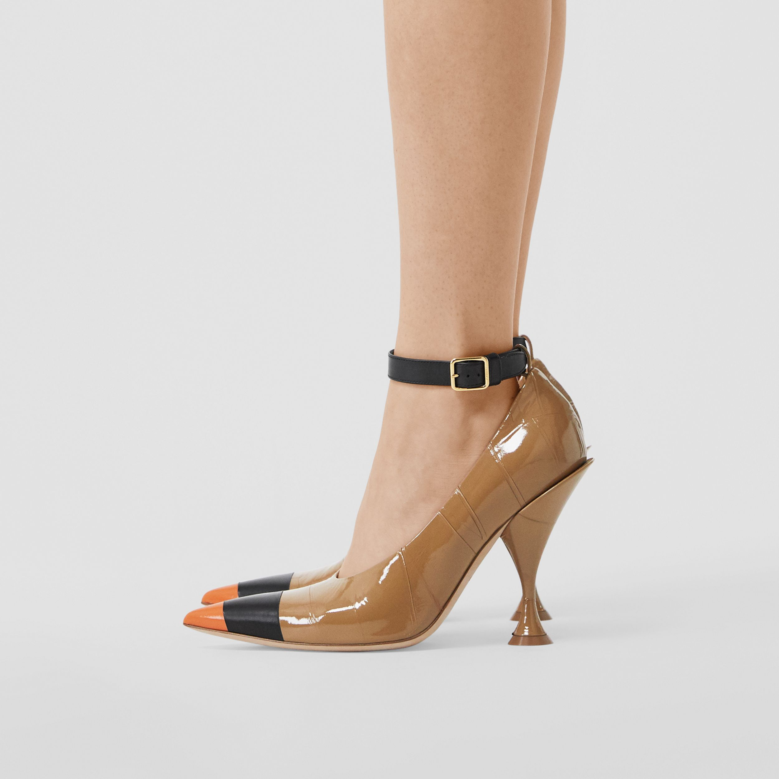 Tape Detail Leather Point-toe Pumps in Brown / Black - Women | Burberry United Kingdom - 3