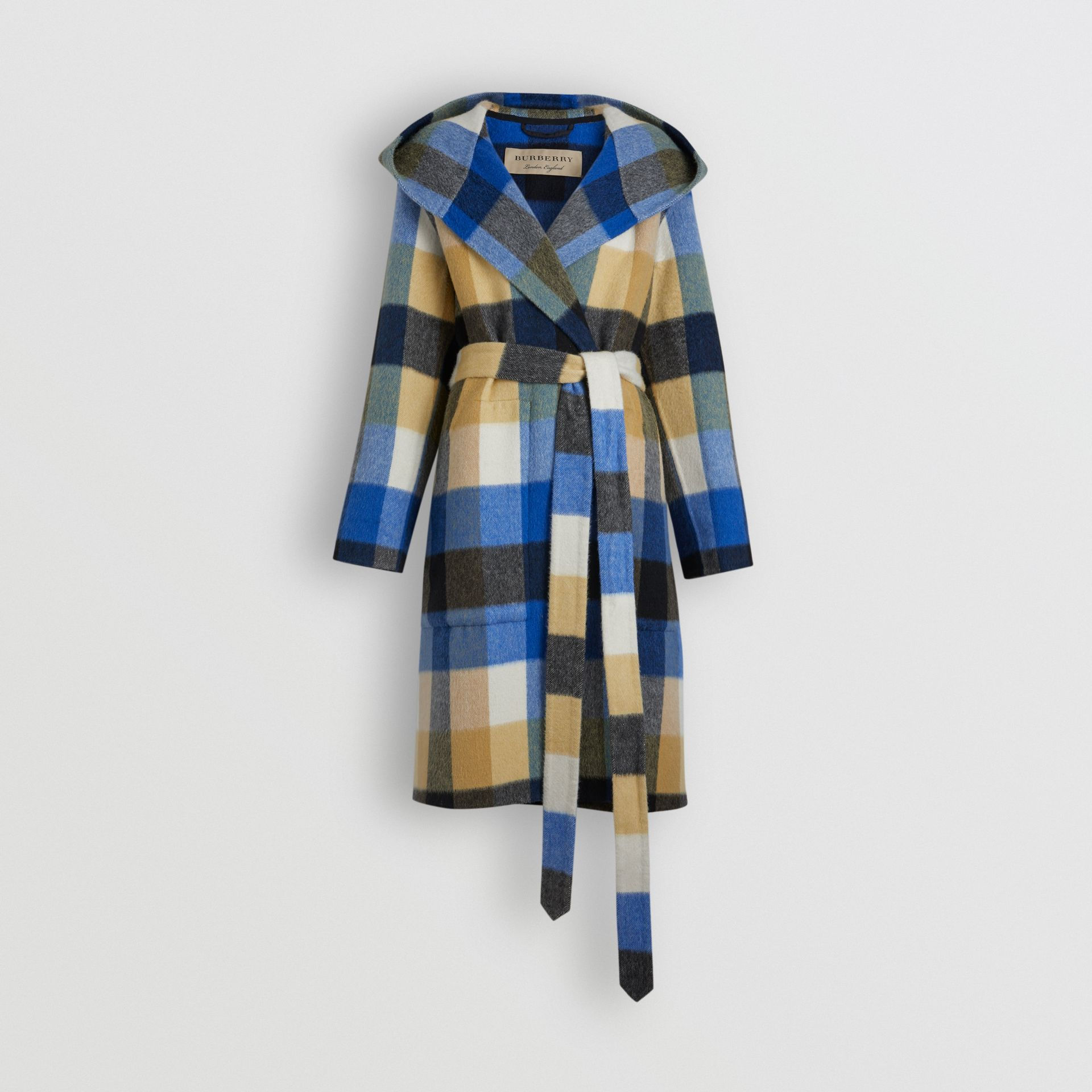 Check Oversized Dressing Gown Coat in Ochre Yellow - Women | Burberry - gallery image 3