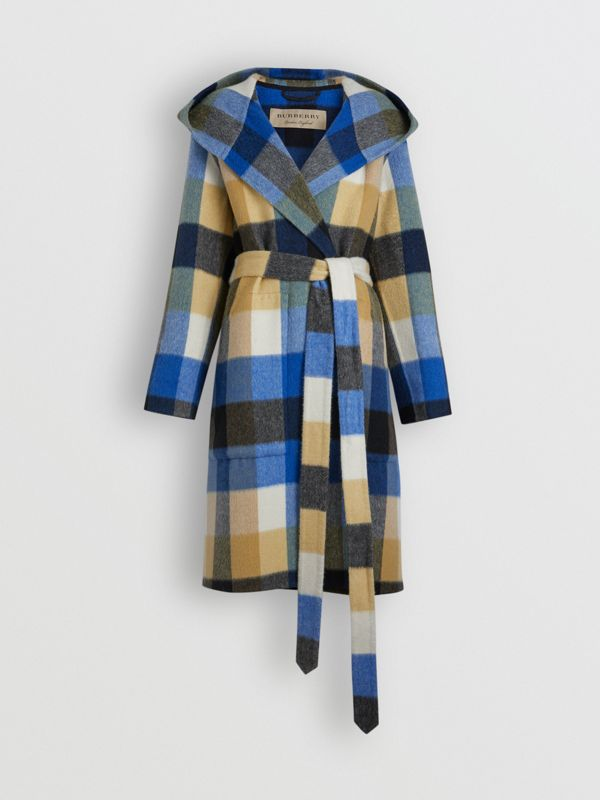 Check Alpaca Wool Blend Dressing Gown Coat in Ochre Yellow - Women | Burberry - cell image 3