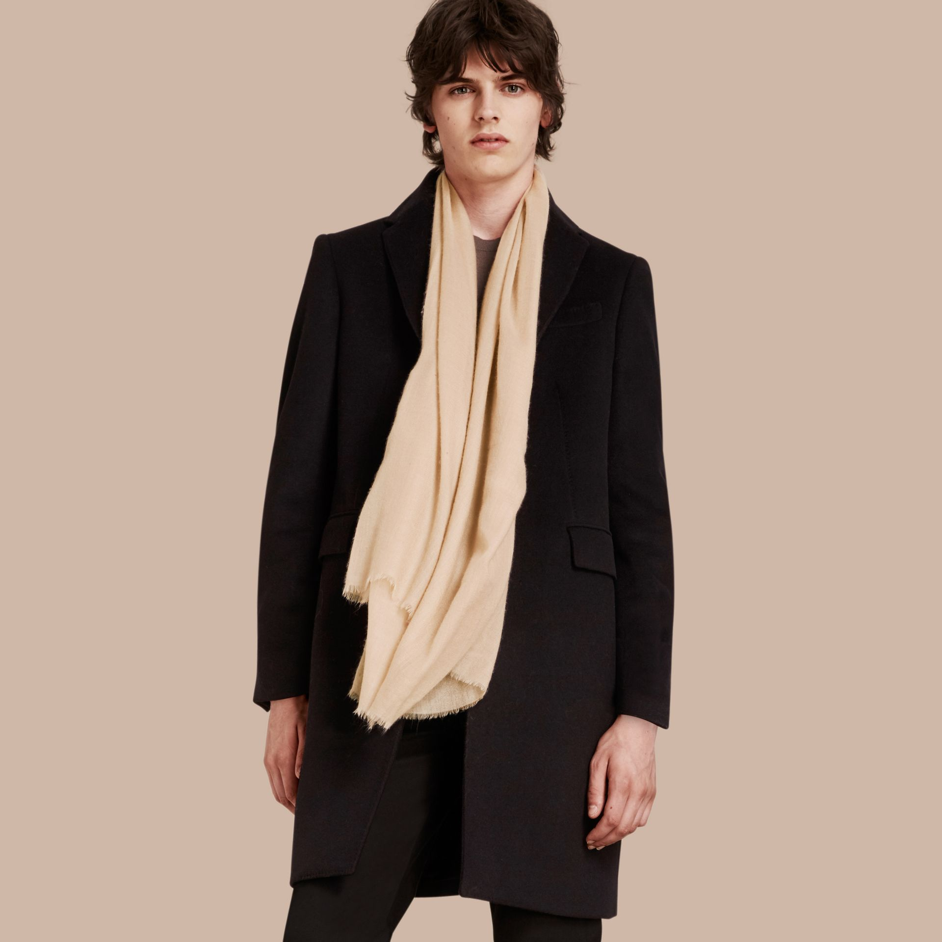 The Lightweight Cashmere Scarf in Stone | Burberry Australia - gallery image 4