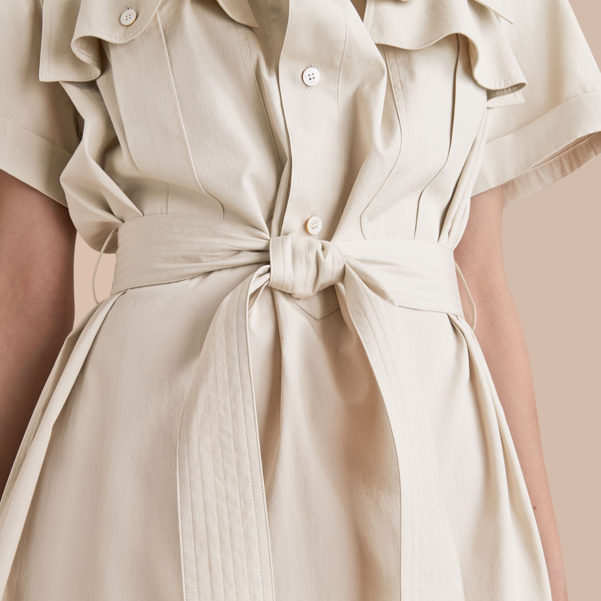 Tie-waist Cotton Shirt Dress - gallery image 5