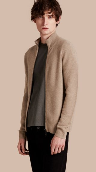 Zip Front Wool Cashmere Cardigan
