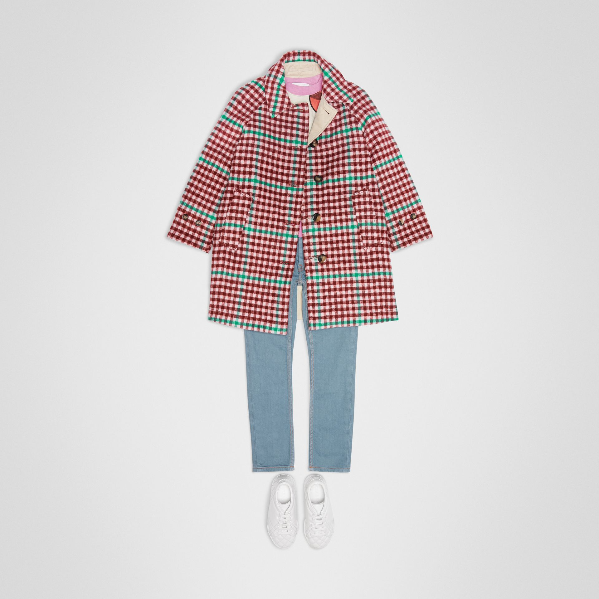 Reversible Check Wool and Cotton Car Coat in Garnet Pink | Burberry - gallery image 2