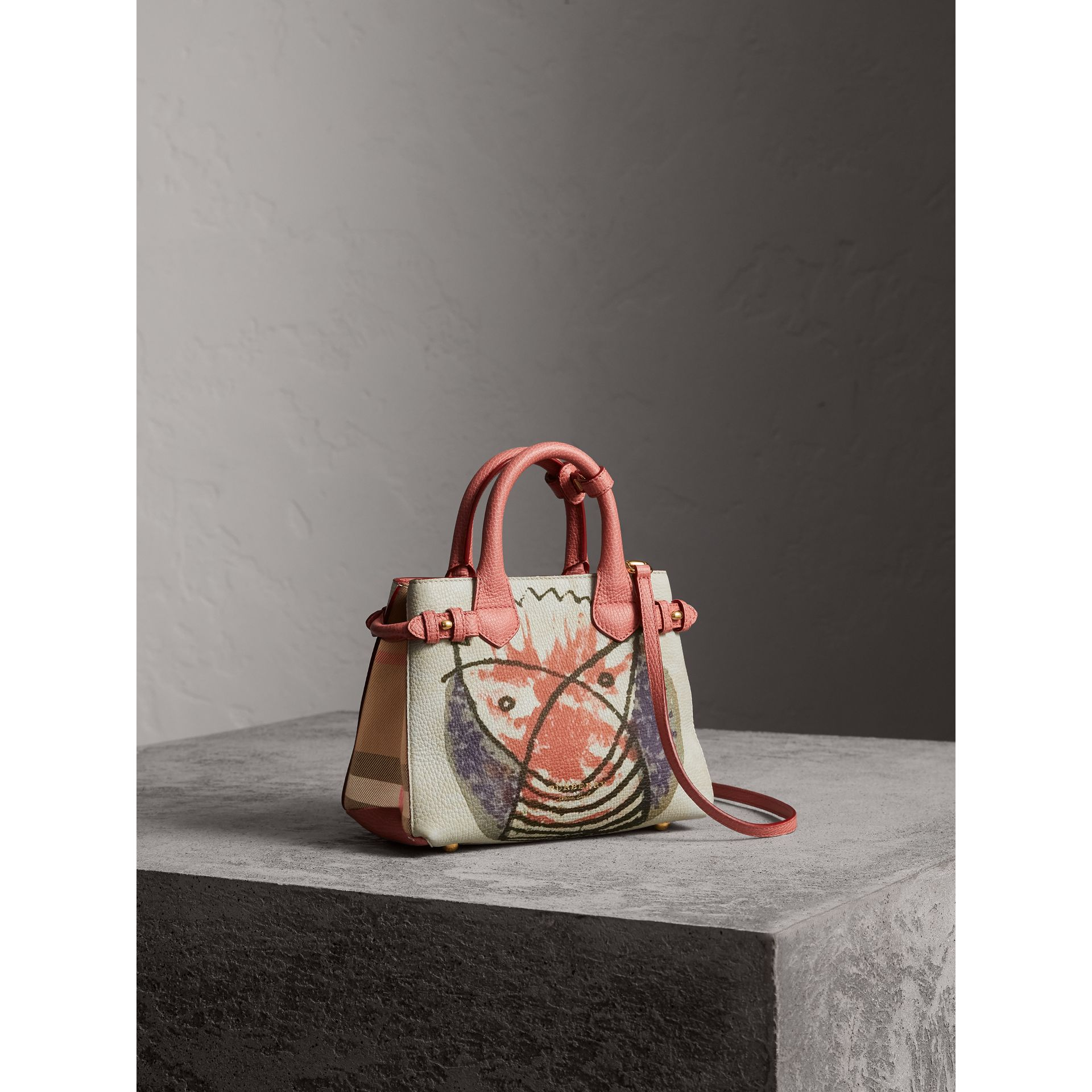 The Baby Banner in Leather with Pallas Heads Print in Cinnamon Red - Women | Burberry - gallery image 1