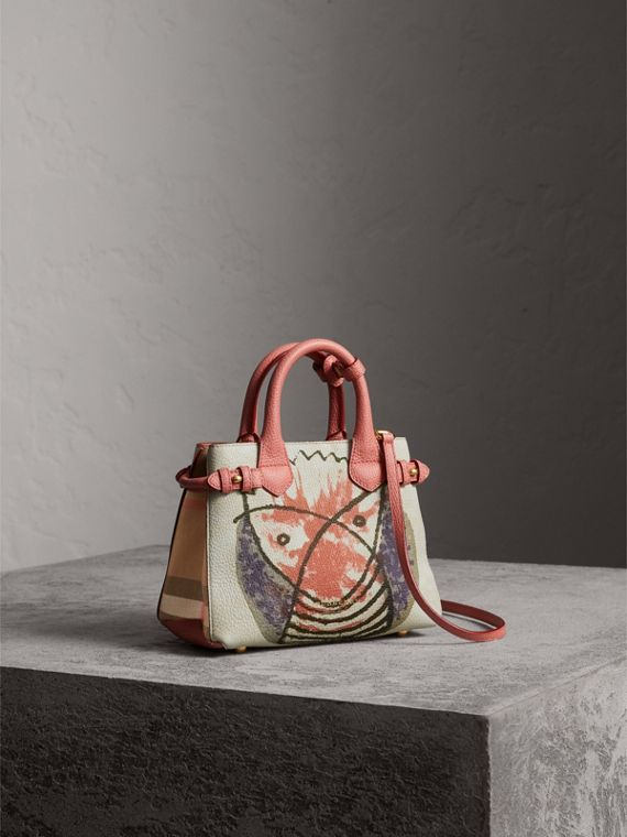 The Baby Banner in Leather with Pallas Heads Print in Cinnamon Red - Women | Burberry Australia