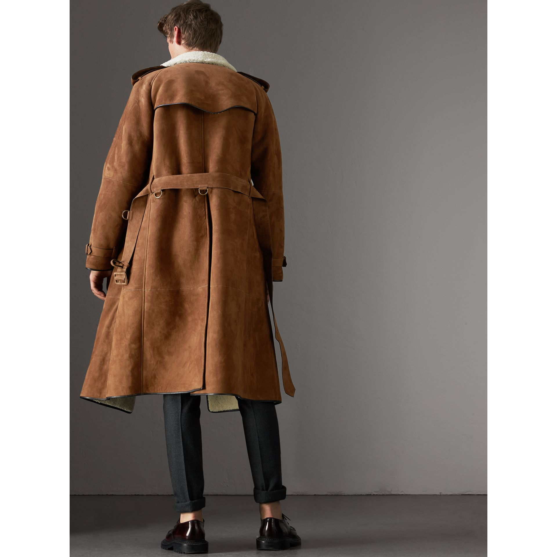 Suede and Shearling Trench Coat in Tan - Men | Burberry United States - gallery image 2