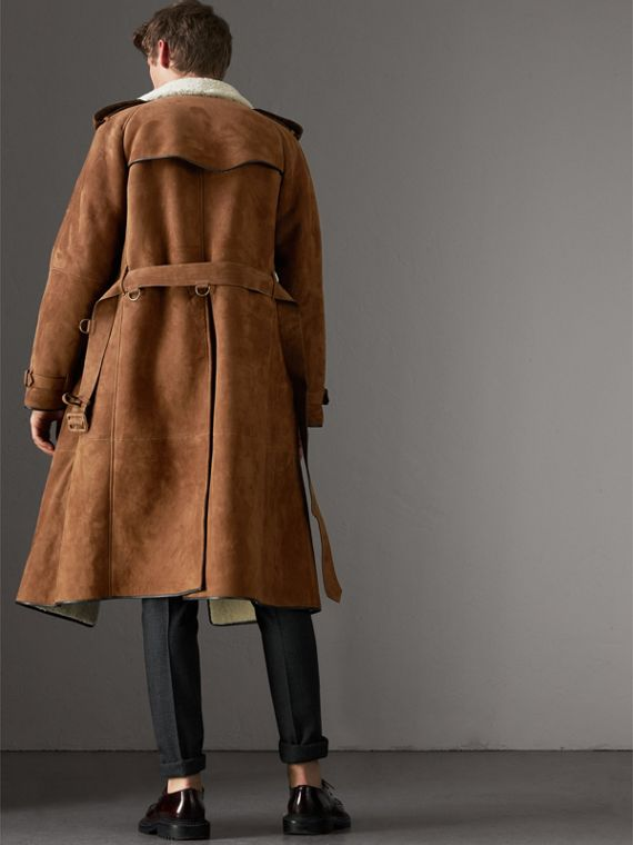 Suede and Shearling Trench Coat in Tan - Men | Burberry United States - cell image 2
