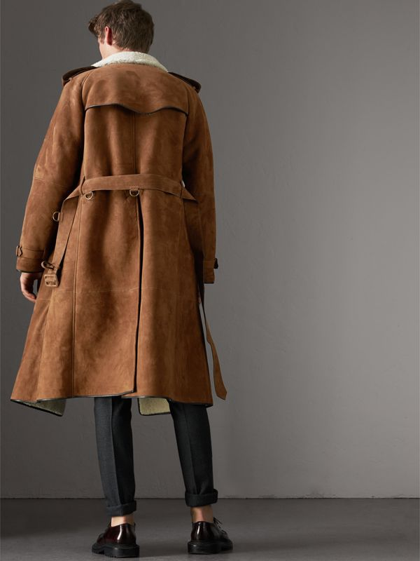 Suede and Shearling Trench Coat in Tan - Men | Burberry - cell image 2