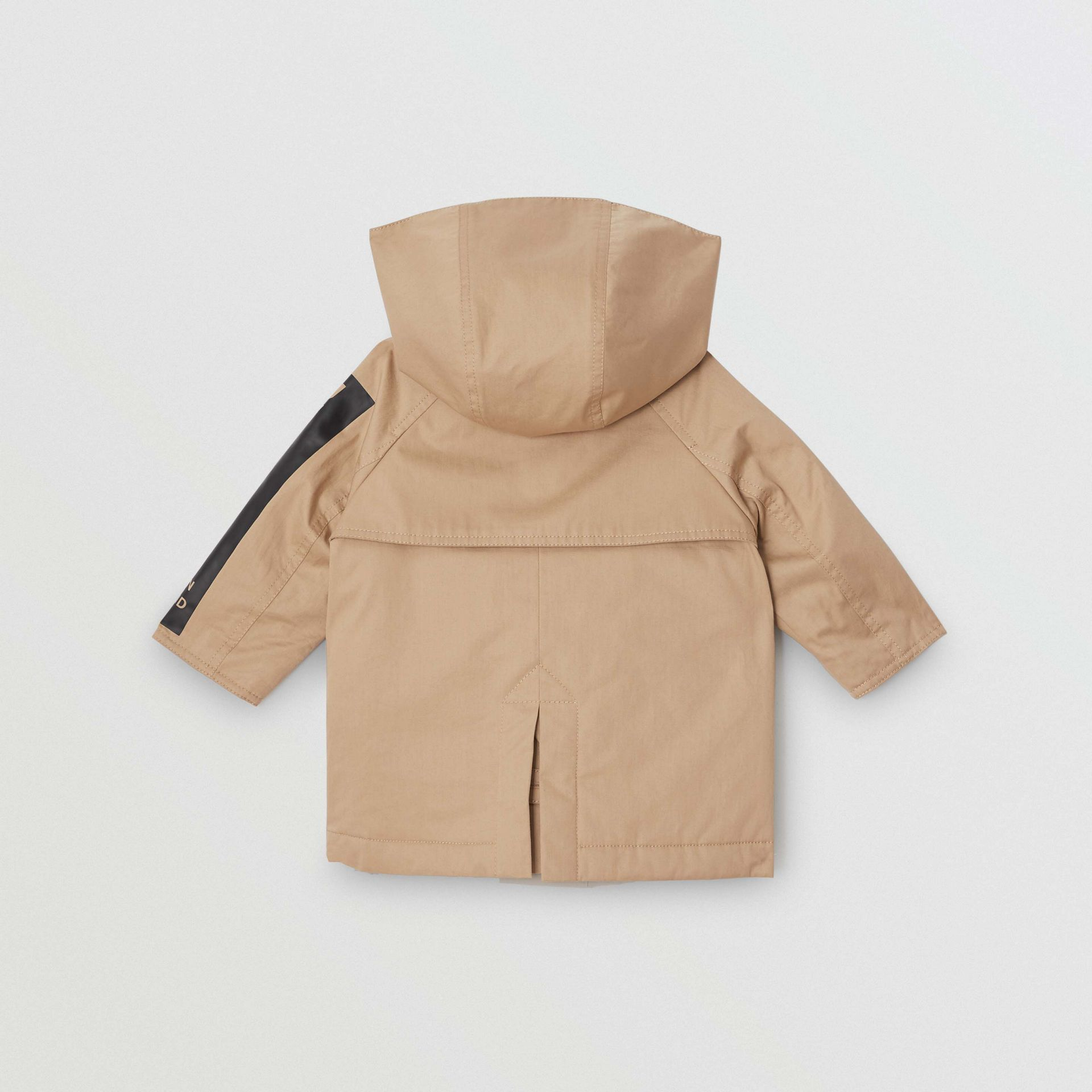 Detachable Hood Logo Print Cotton Twill Car Coat in Honey - Children | Burberry - gallery image 3