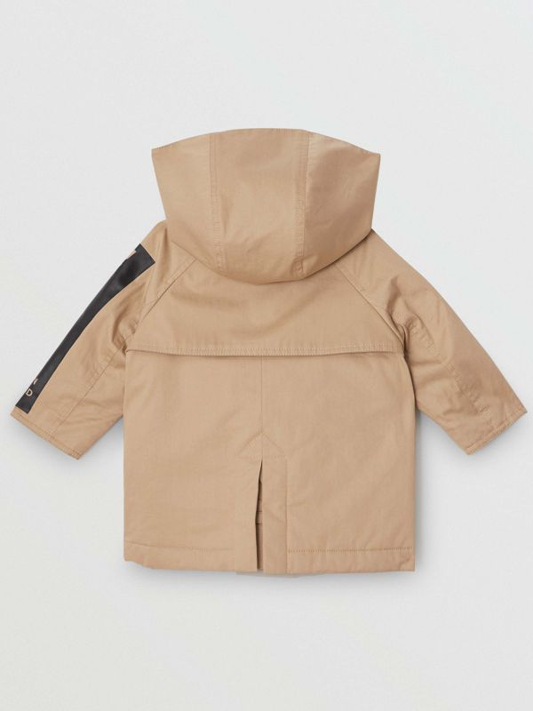 Detachable Hood Logo Print Cotton Twill Car Coat in Honey - Children | Burberry - cell image 3