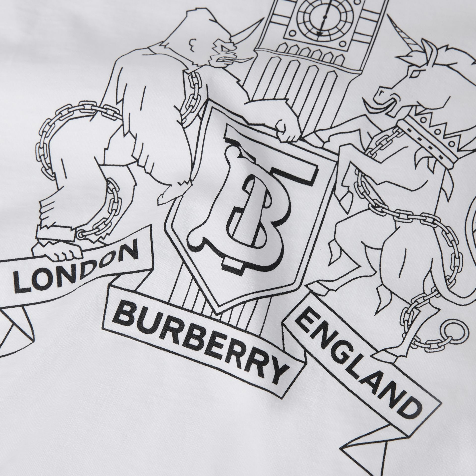 Montage Logo Print Cotton T-shirt in White | Burberry - gallery image 1