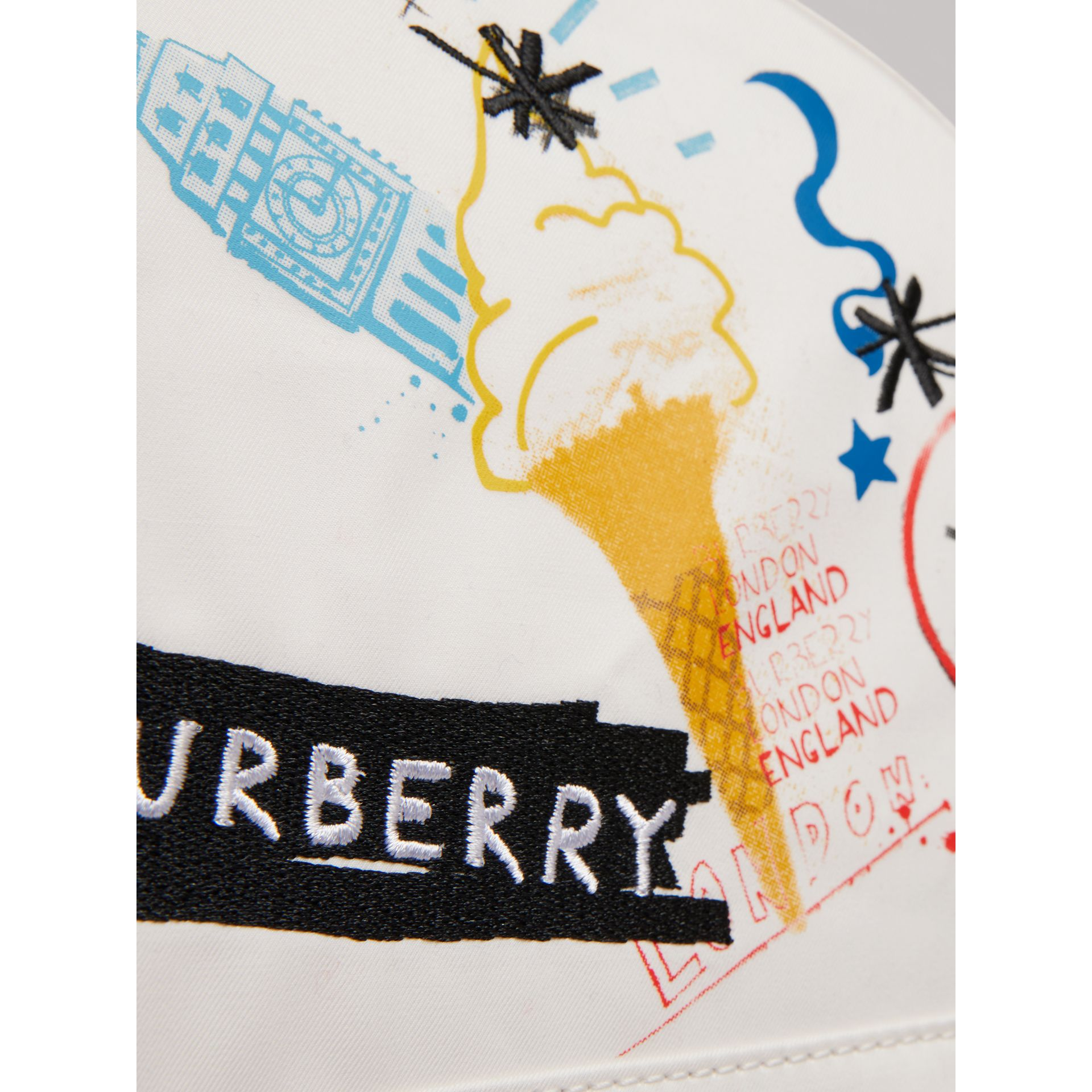 Ice-cream Print Cotton Canvas Backpack in Larch Yellow | Burberry United Kingdom - gallery image 1