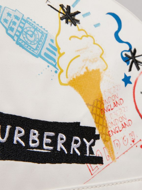 Ice-cream Print Cotton Canvas Backpack in Larch Yellow | Burberry United Kingdom - cell image 1
