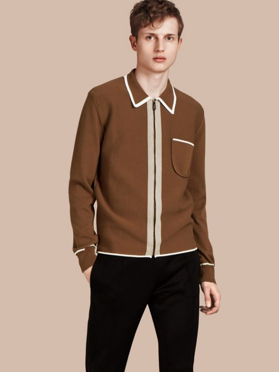 Border Detail Technical Cotton Cardigan Ochre Brown