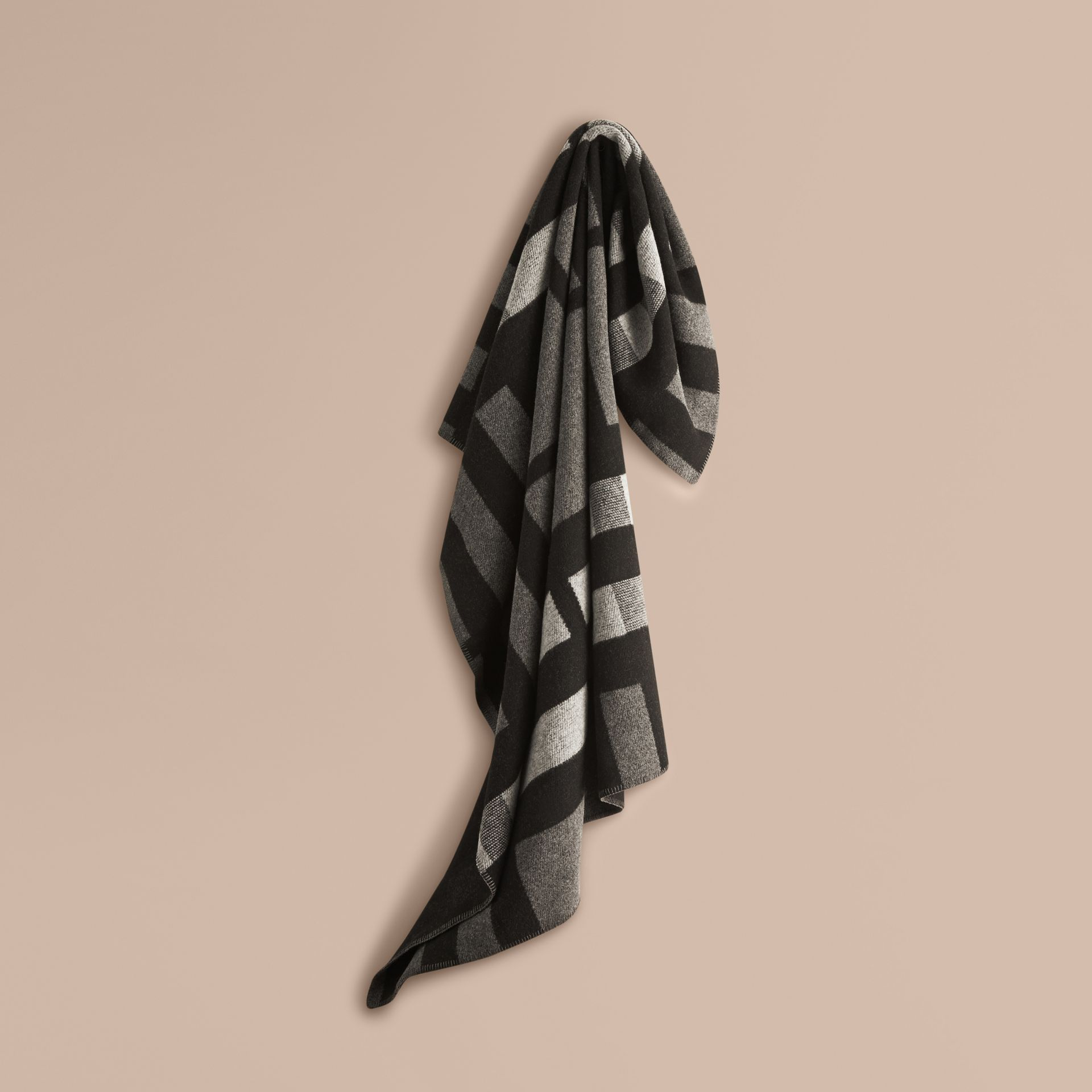 Dark grey check Check Wool Cashmere Blanket Dark Grey - gallery image 1