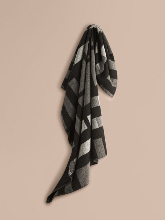 Check Wool Cashmere Blanket in Dark Grey