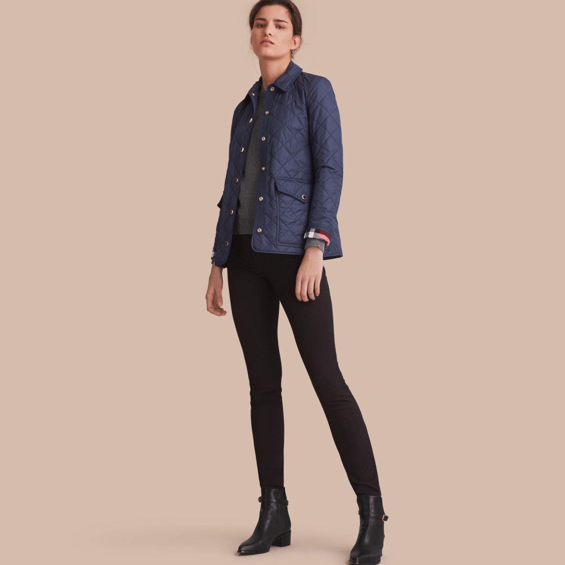 Check Detail Diamond Quilted Jacket in Navy - gallery image 1