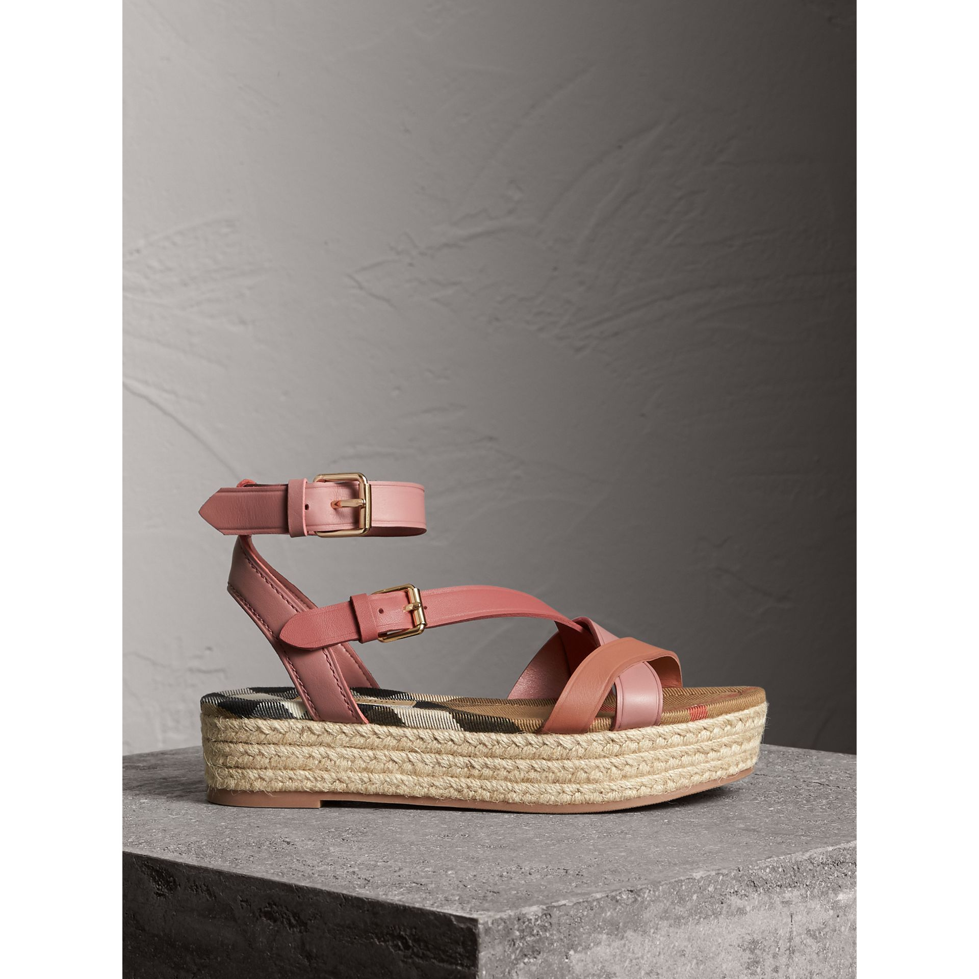 Two-tone Leather Espadrille Sandals in Dusty Pink - Women | Burberry - gallery image 1
