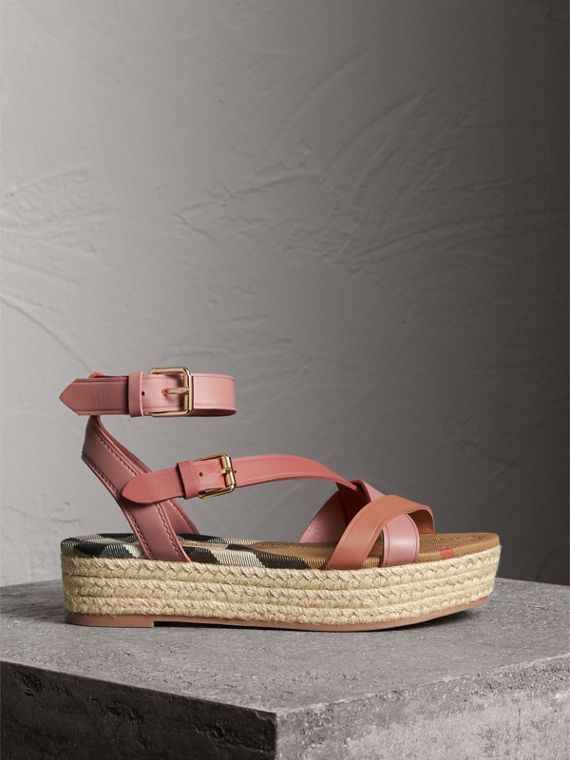 Two-tone Leather Espadrille Sandals in Dusty Pink