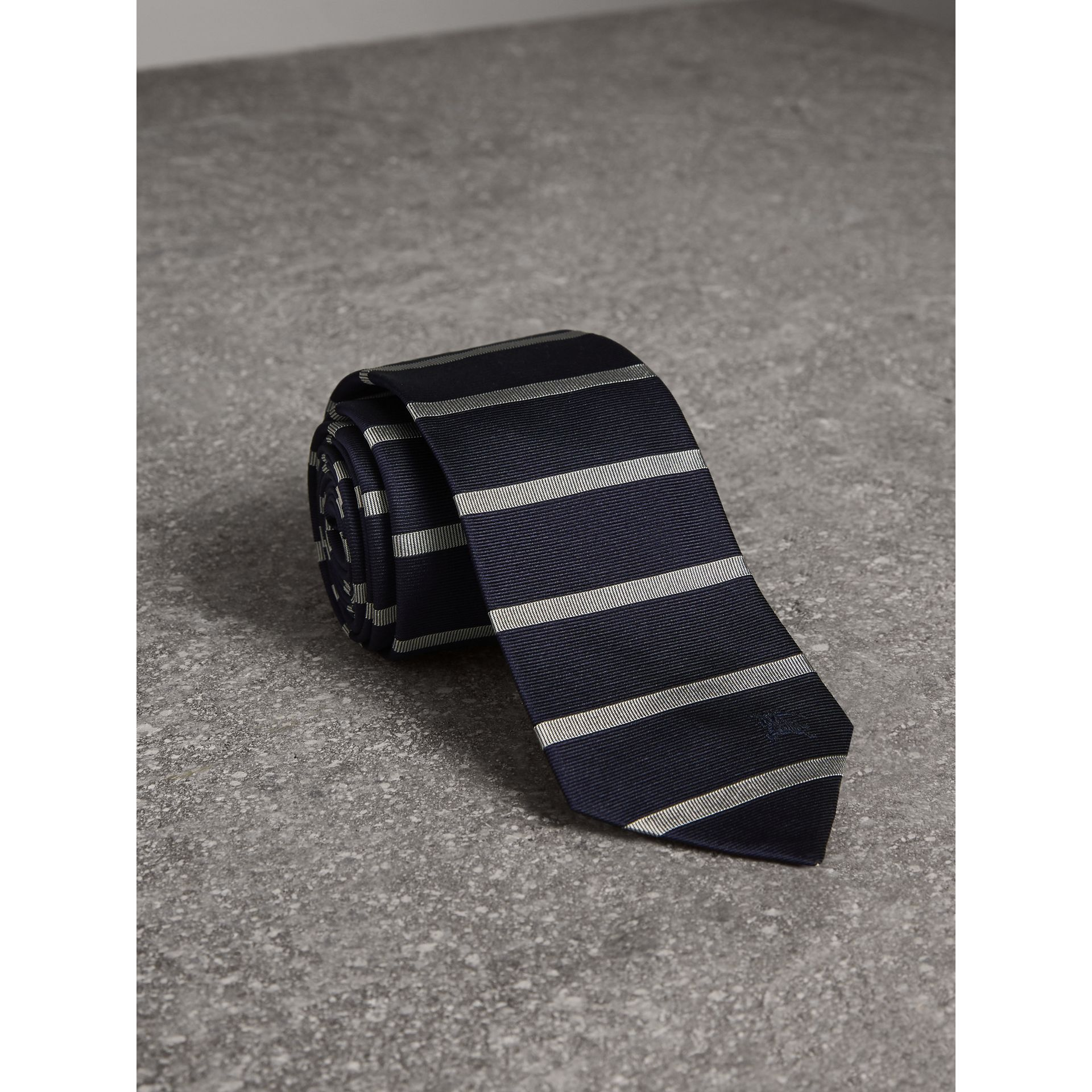 Modern Cut Striped Silk Tie in Navy - Men | Burberry Singapore - gallery image 1