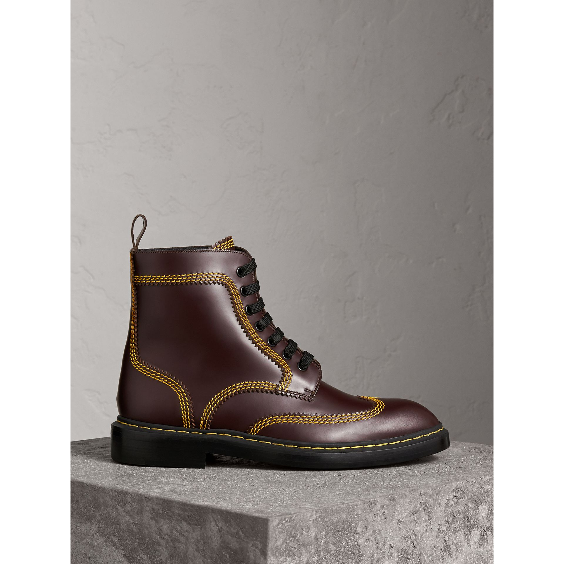 Topstitched Leather Derby Boots in Bordeaux - Men | Burberry - gallery image 1
