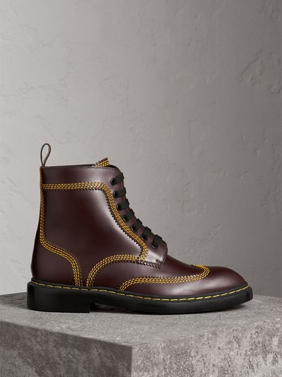 Topstitched Leather Derby Boots in Bordeaux