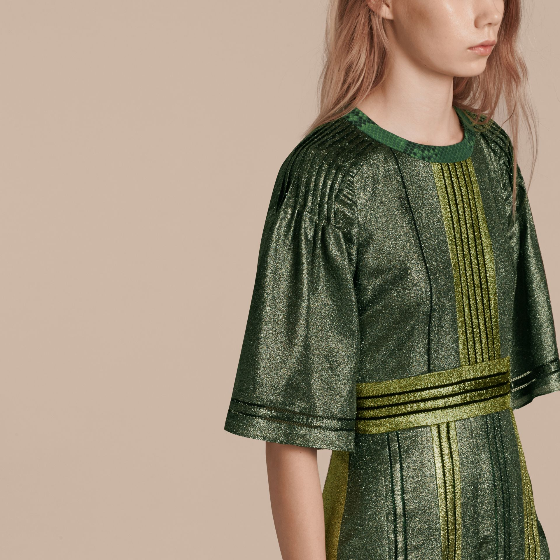 Sage Long Lamé and Python Print Dress Sage - gallery image 6
