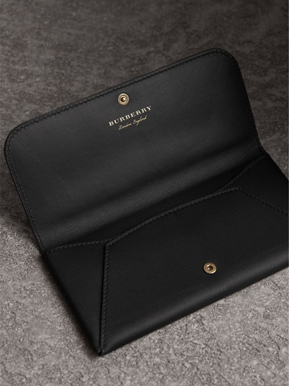 Trench Leather Envelope Wallet in Black - Women | Burberry Singapore - cell image 3
